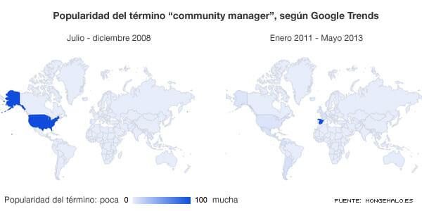 """Mapas que indican la popularidad del término """"community manager"""", según Google Trends."""