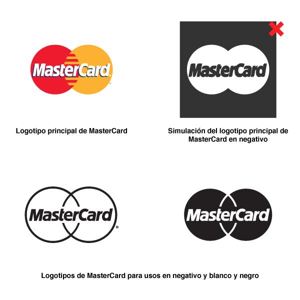 Al superponer colores, MasterCard cuenta con un diseño distinto para usos en blanco y negro y negativo